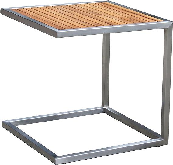 Outflexx Tumbona Incluye mesa de alta calidad acero inoxidable negras y madera de teca, aprox. 45 x 45 cm, resistente a la intemperie Tumbona, Set completo con cómoda Exteriores Tumbona y práctico – Mesa