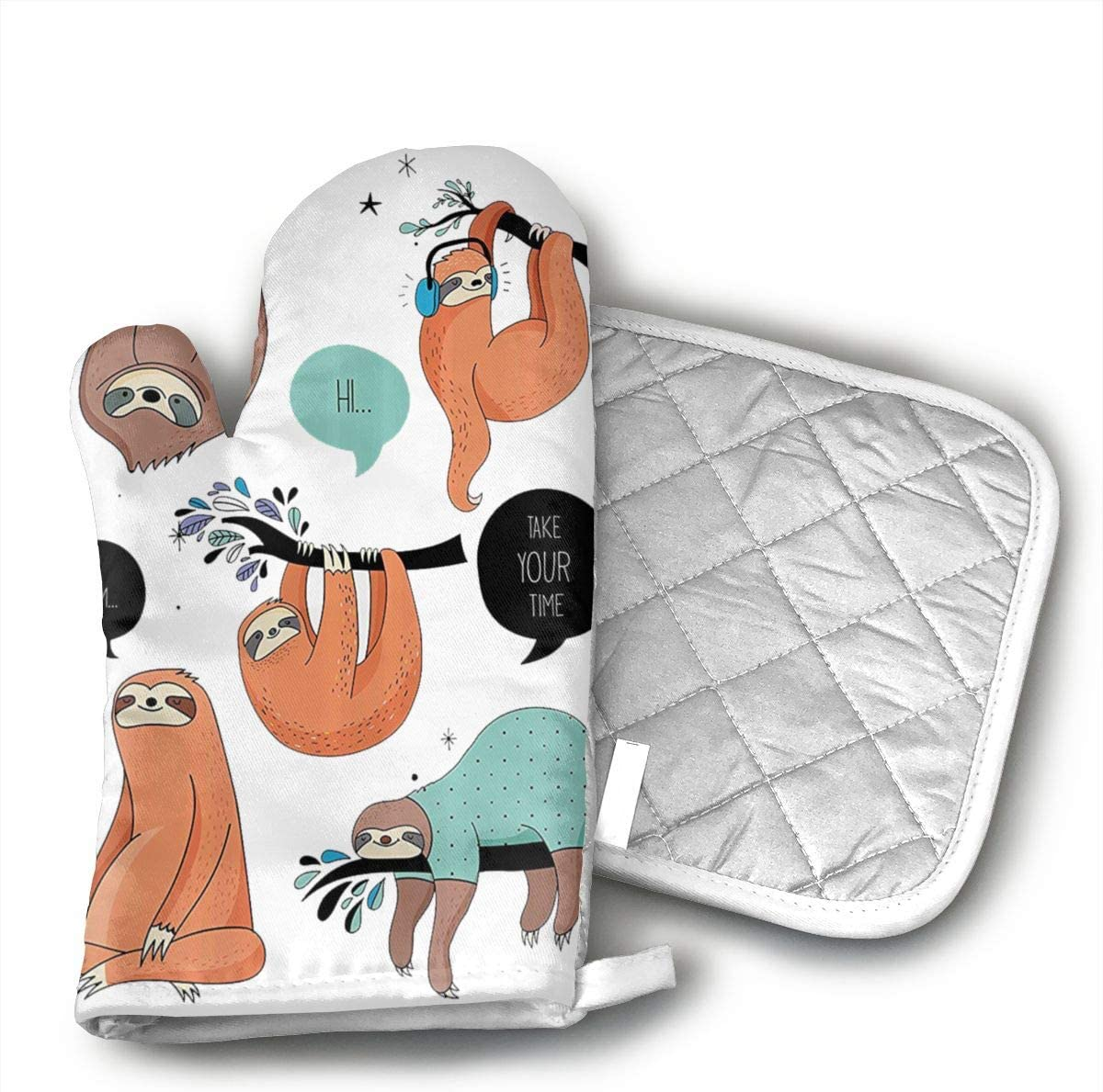 Wiqo9 Cartoon Illustration Tribe of Sloths Smiles Oven Mitts and Pot Holders Kitchen Mitten Cooking Gloves,Cooking, Baking, BBQ.