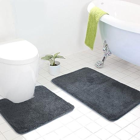MAYSHINE Bath Mat Sets For Bathroom Rugs And 2 Piece Toilet Contour Mats  Non Slip Machine