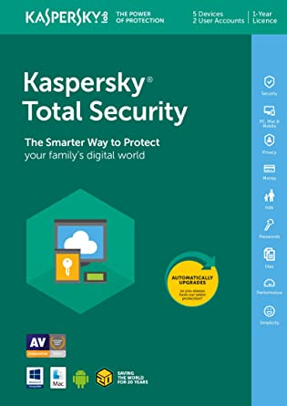 Kaspersky Total Security 2019   5 Devices   1 Year   PC/Mac/Android    Online Code