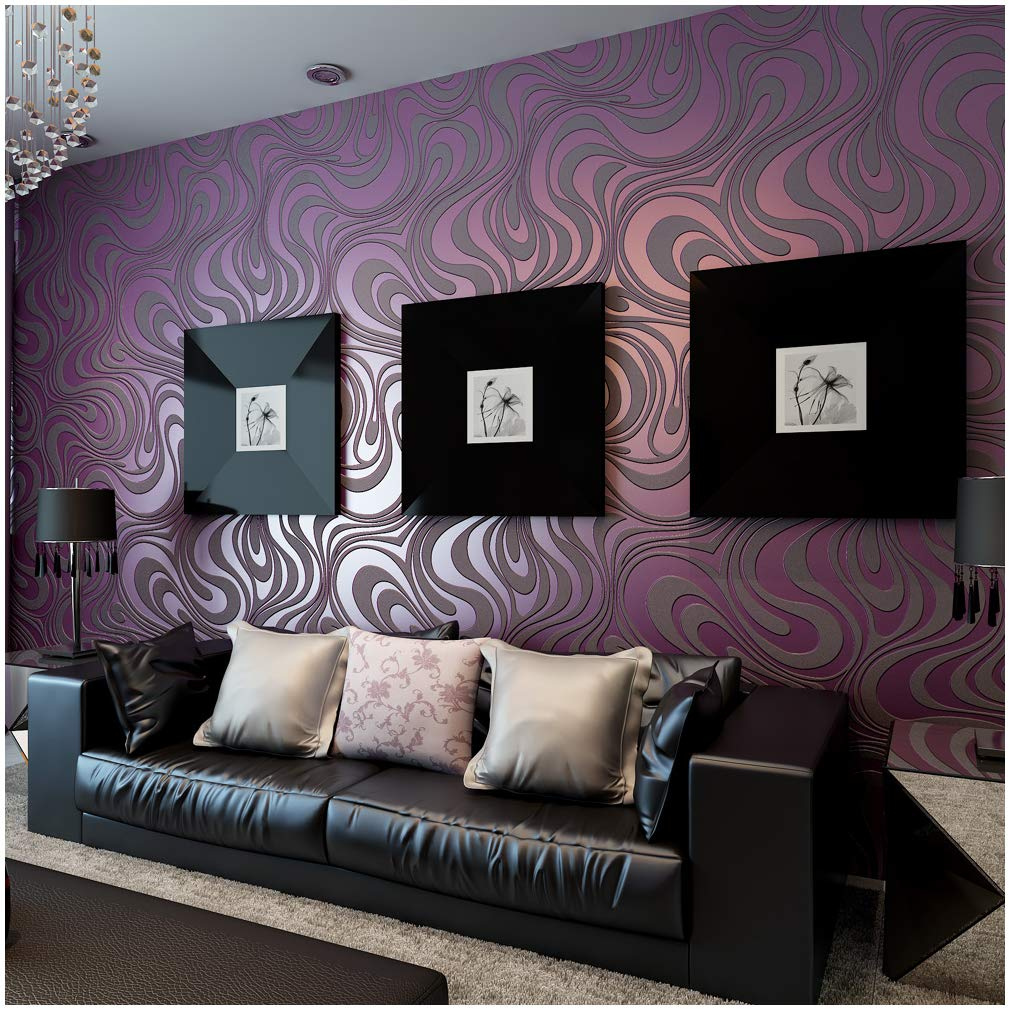 QIHANG Modern Abstract Curve 3D Wallpaper Roll Mural Papel De Parede Flocking for Striped Purple Color Qh-Wallpaper 0.7m x 8.4m=5.88㎡