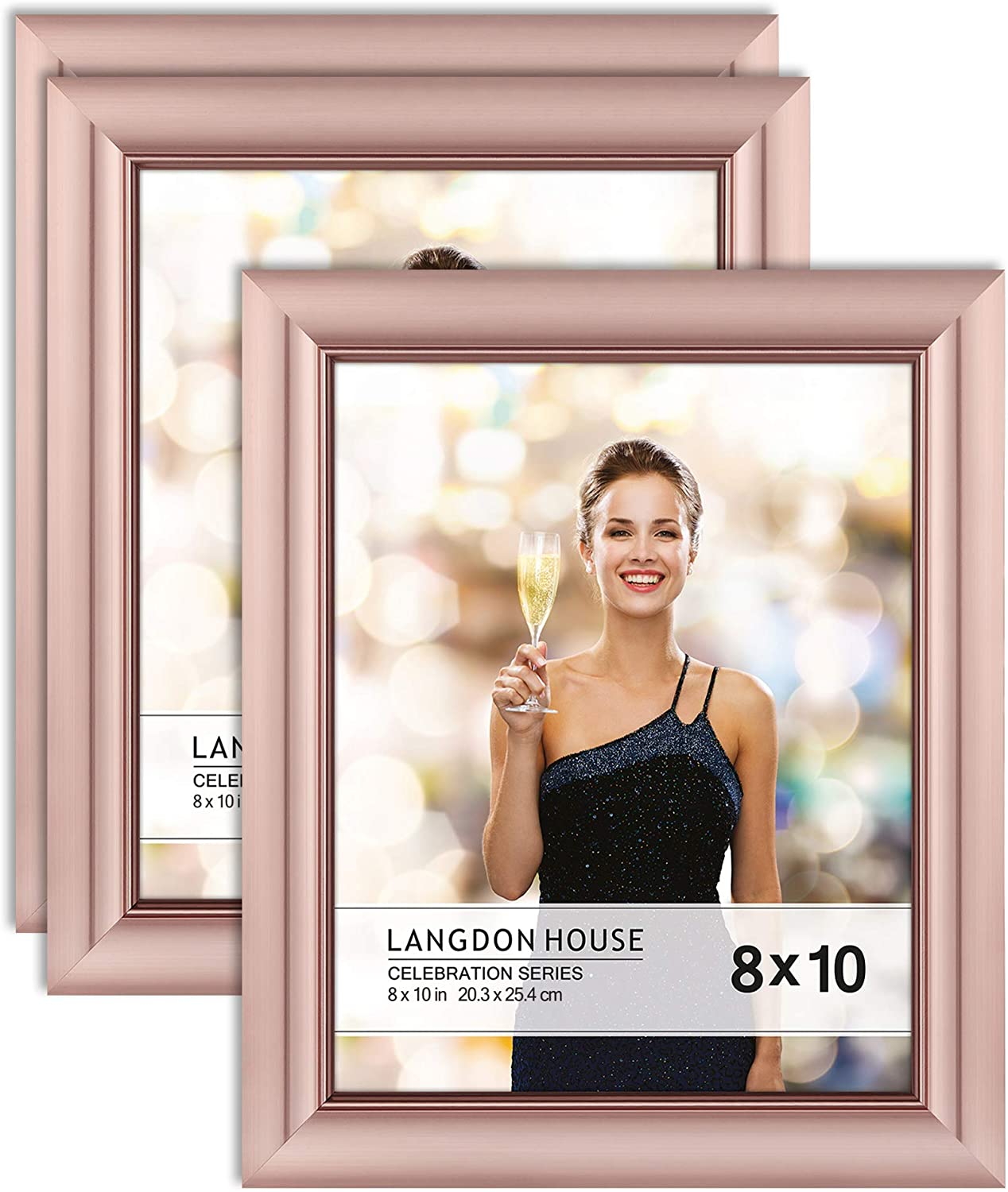 Langdon House 8x10 Picture Frames (Rose Gold, 3 Pack), Contemporary Glam Photo Frames 8 x 10, Wall Mount or Table Top, Celebration Collection