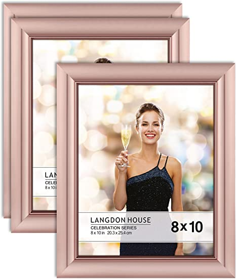 Langdon House 8x10 20x25 Cm Picture Frames Rose Gold 3 Pack Contemporary Glam Photo Frame 8 X 10 Wall Mount Or Table Top Celebration Collection Amazon Ca Home Kitchen