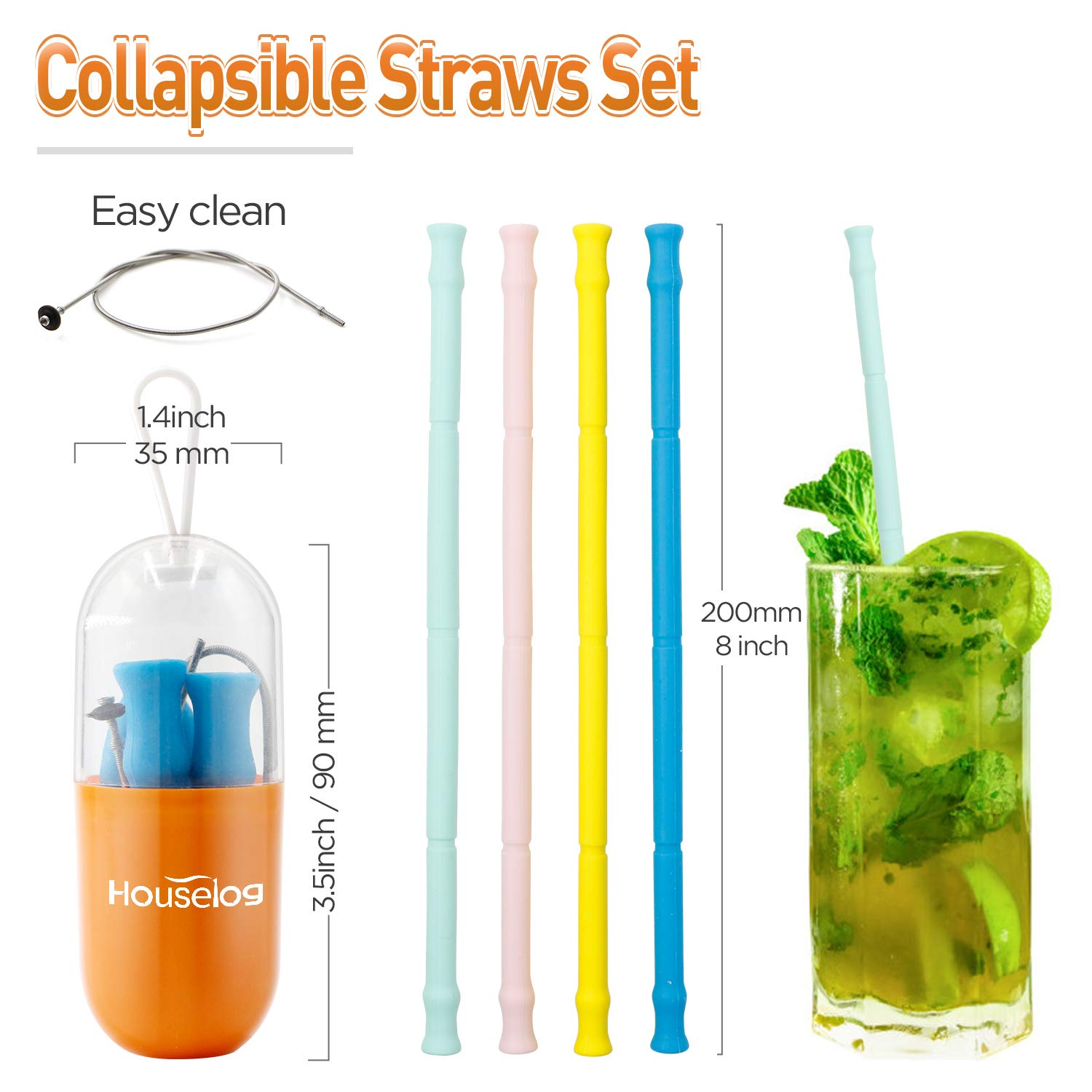 Reusable Silicone Collapsible Straws Food-Grade Drinking Straws 7.87 Inch