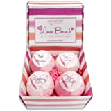 Bath Bombs Gift Set - Luxury Bath Fizzies - Lush Size 6 Ounce Natural Bath Balls - US Made - Love Bomb