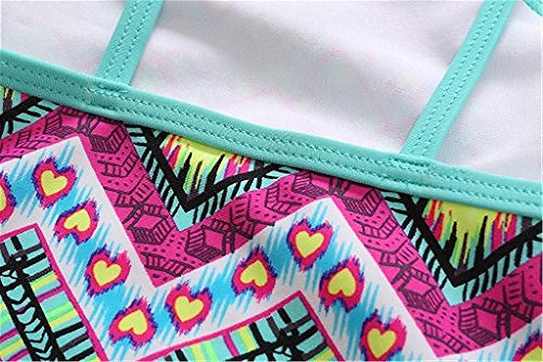 ATTRACO Little Big Girls One Piece Swimsuit Set Adjusatable Straps Bathing Suit