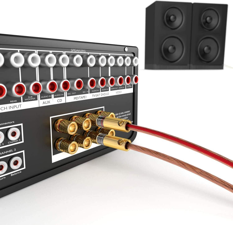 KabelDirekt – Conectores Banana – 10 Pares (Conectores Tipo Banana para Cables de Altavoz de hasta 6mm², conexión Flexible para Altavoces ...