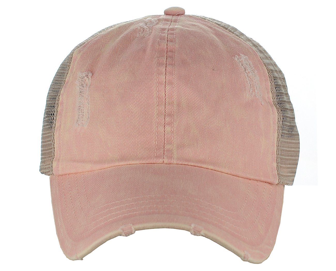 D&Y Ponyflo Ponytail Messy High Bun Distressed Adjustable Trucker Baseball Cap, Dusty Pink by D&Y (Image #4)