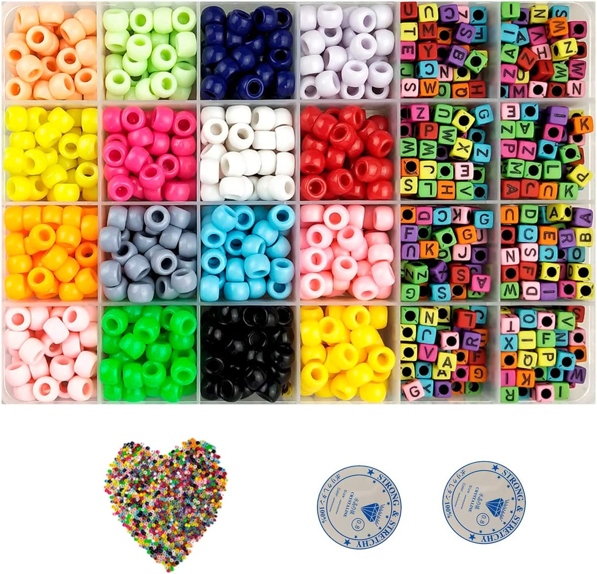 Finatider DIY Beads for Kids Beads for Bracelets Letter Alphabet Glass Beads for Name Bracelets Beads for Jewelry Making for Birthday Party Christmas Gift for Girls Crafts Kids Ages 8-14
