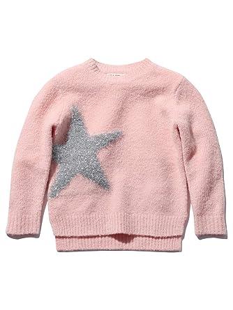 4b028958da59 M&Co Girls Pink Long Sleeve Silver Glitter Knit Star Design Rib Trim Fluffy  Knitted Jumper: Amazon.co.uk: Clothing