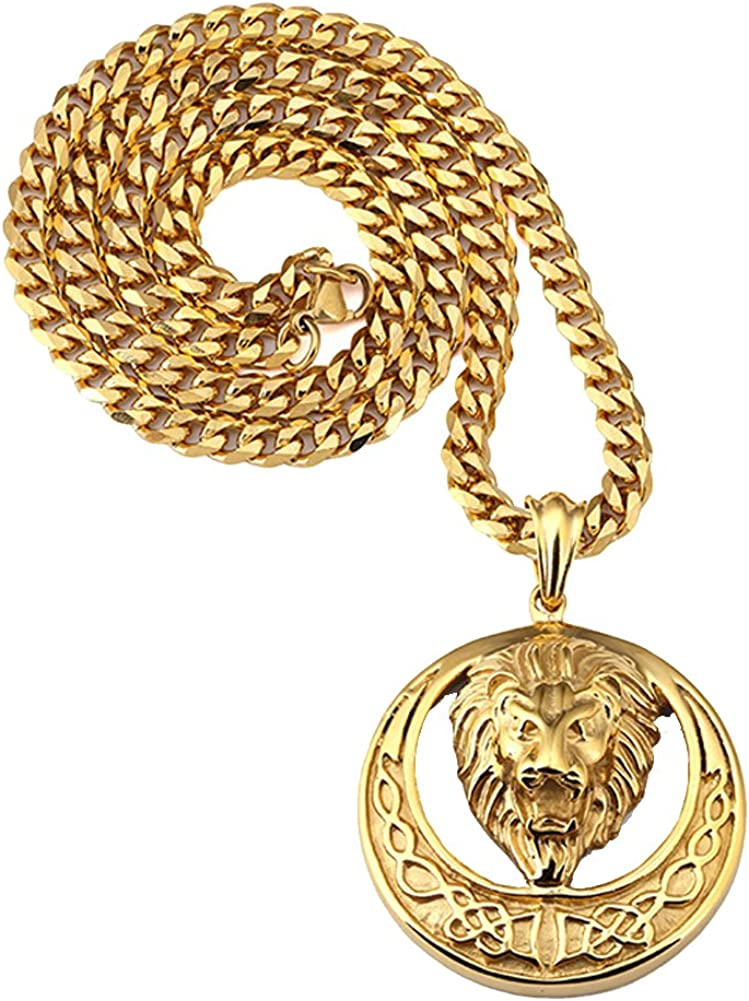 Mens Stainless Steel Necklace 3D Lion Head Charm Pendant