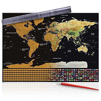 Amazon scratch off world map with pen scratcher perfect gift scratch off world map with pen scratcher perfect gift for travellers travel map gumiabroncs Choice Image