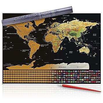 Scratch off world map with pen scratcher perfect gift for scratch off world map with pen scratcher perfect gift for travellers premium quality gumiabroncs Gallery