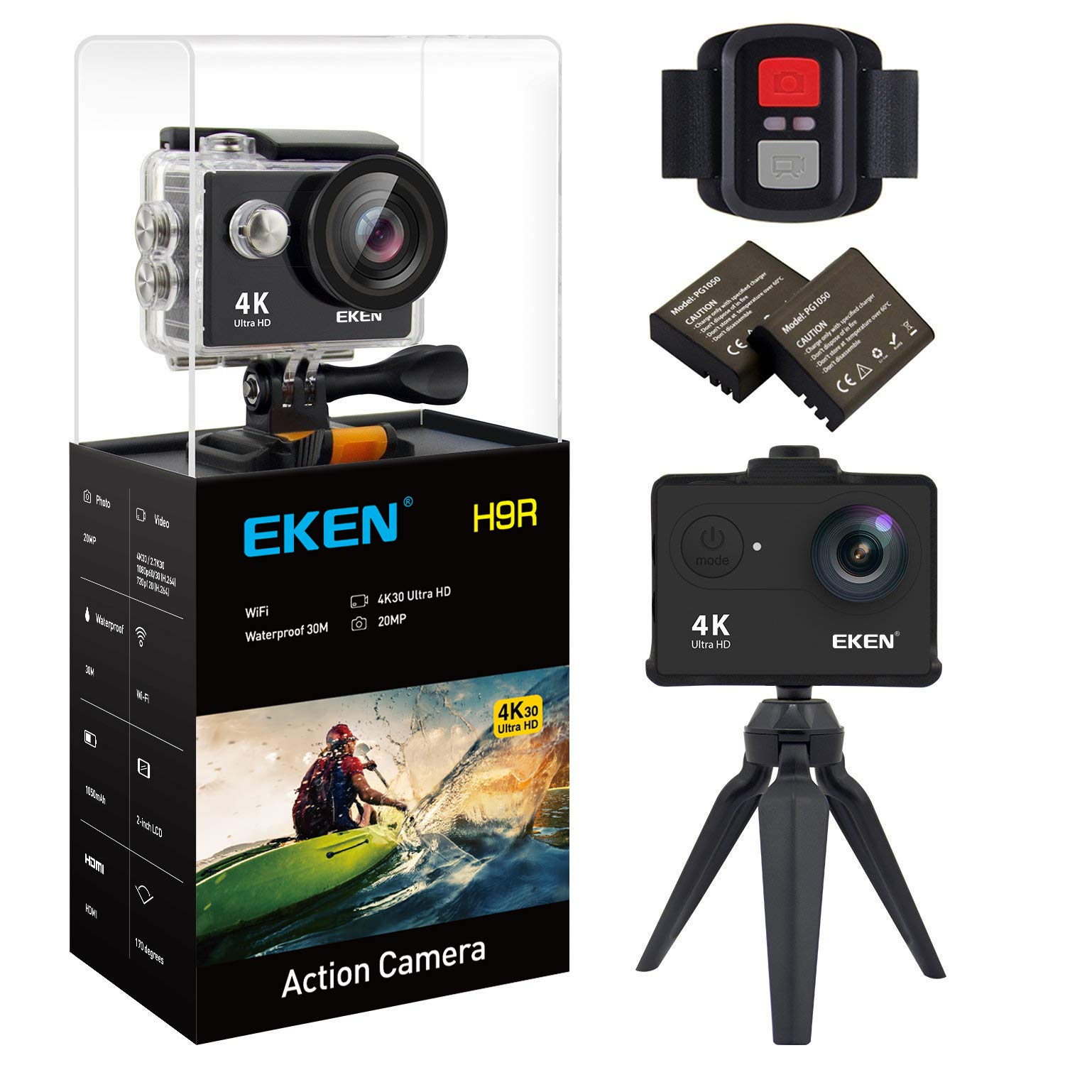 New EKEN H9R Action Camera 4K WiFi Waterproof Sports Camera Full HD 4K30 2.7K30 1080p60 720p120 Video Camera 20MP Photo and 170 Wide Angle Lens Includes 11 Mountings Kit 2 Batteries Black by EKEN