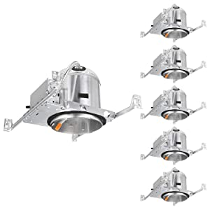 TORCHSTAR 6 Inch LED Ceiling Recessed Housing For New Construction, IC Rated, Air Tight, TP24 Quick Connector, ETL-Listed, Aluminum, 2 YEARS WARRANTY, Pack of 6