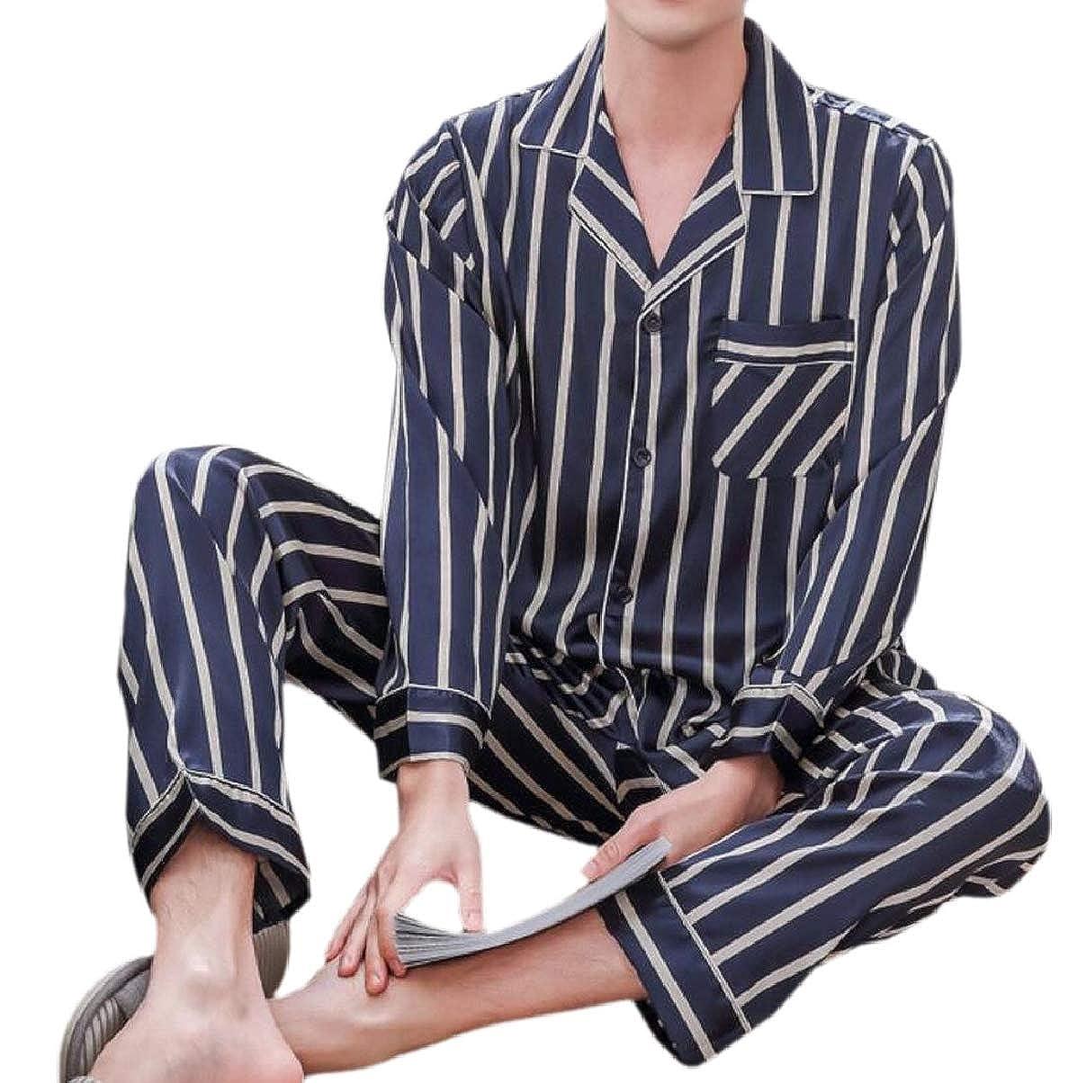 ZXFHZS Mens Long-Sleeved Faux Silk Satin Classic Stripe Home Wear Pajama Sets