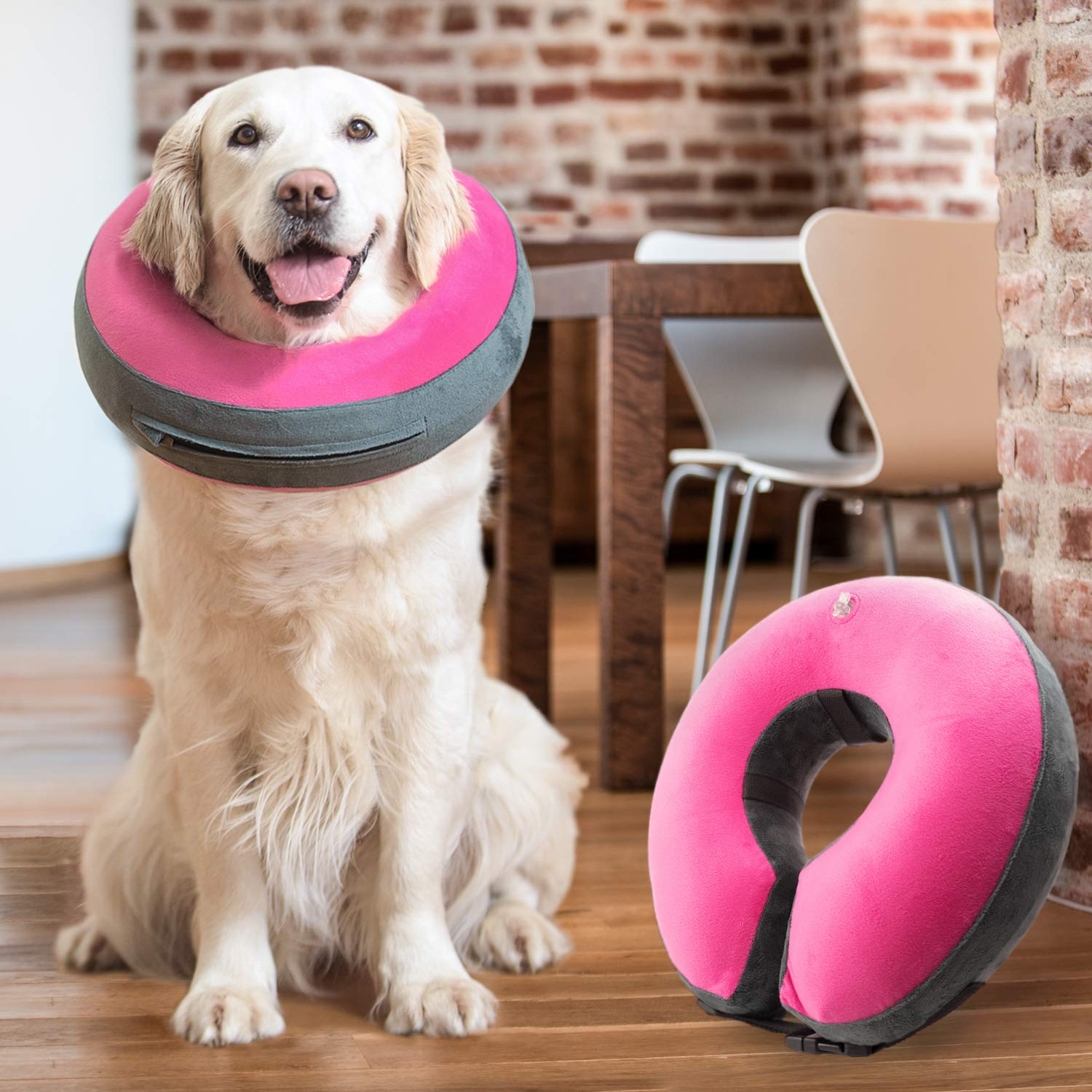 GoodBoy Comfortable Recovery E-Collar for Dogs and Cats - Soft Inflatable Donut Collar Designed for Protecting Small Medium or Large Pets Post Surgery or Wounds by GoodBoy