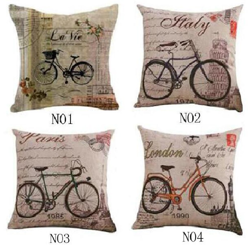 Set of 4 Retro style Vintage Bicycle Throw Pillow Case