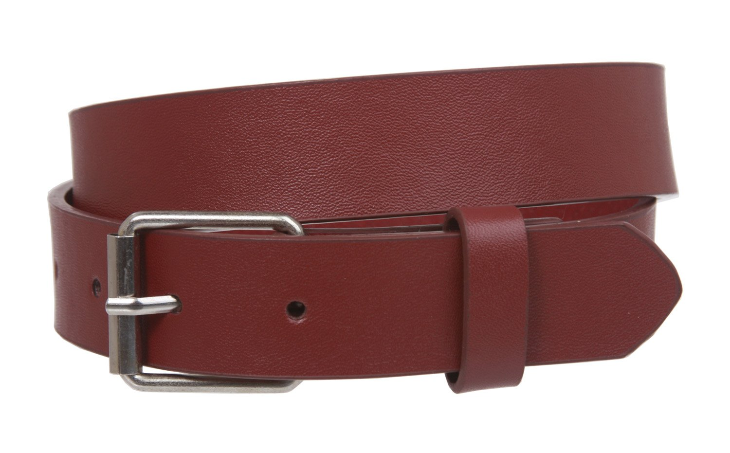 Kids 1'' Snap On Plain Leather Belt, Burgundy | L - 28''