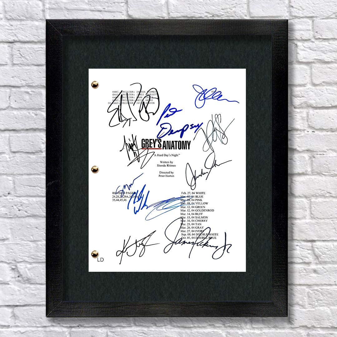 Grey's Anatomy TV Show Cast Autographed Signed Reprint 8.5x11 Script UNFRAMED - Meredith Grey Derek Shepherd Cristina Yang Alex Karev Miranda Bailey Izzie Stevens Mark Sloan George O'Malley