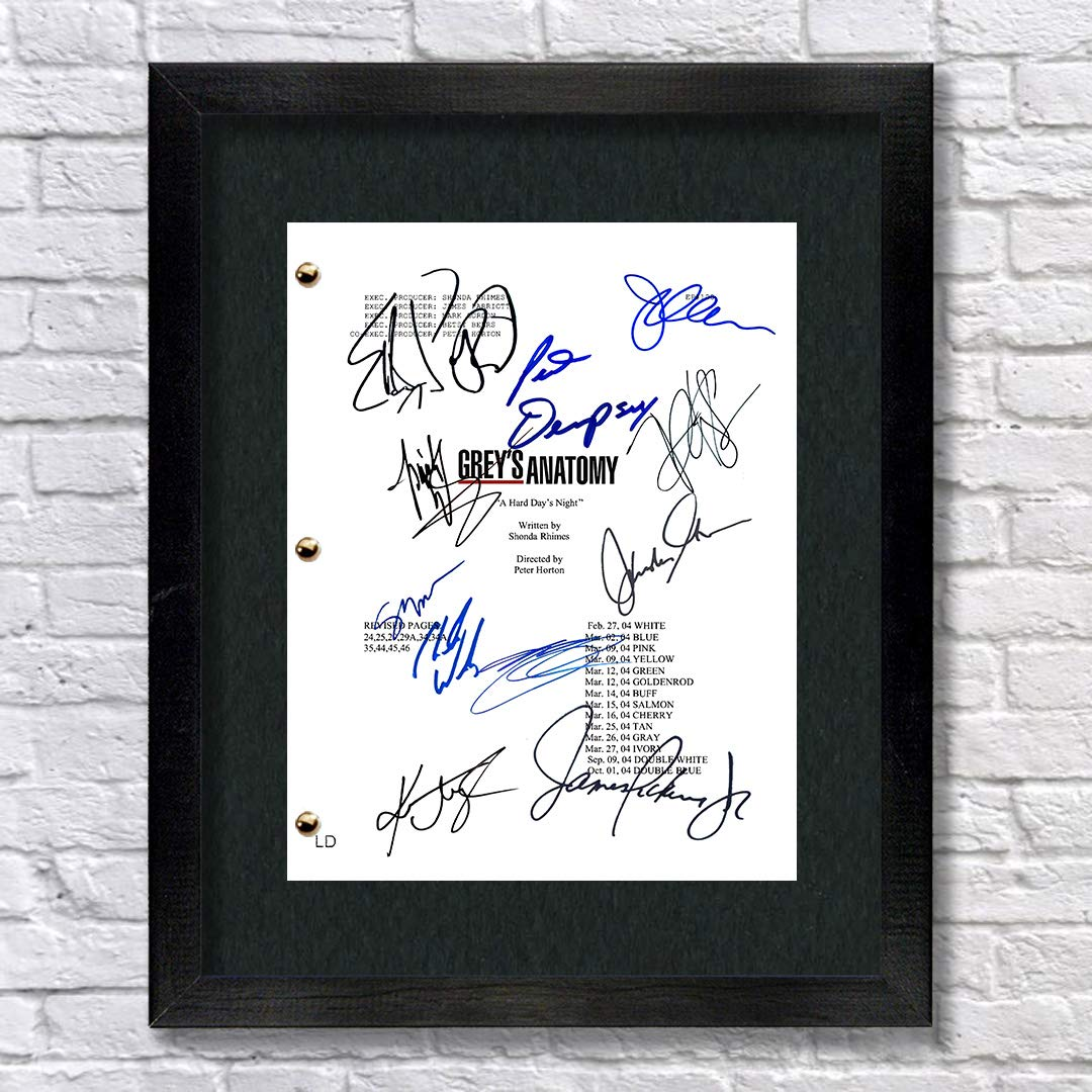 Grey's Anatomy TV Show Cast Autographed Signed Reprint 8.5x11 Script Framed 13x15 Ellen Pompeo Justin Chambers Katherine Heigl Patrick Dempsey Sandra Oh