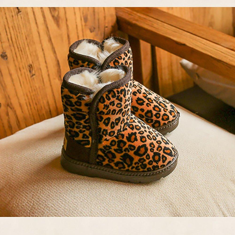 BININBOX Girls Leopard Winter Snow Boots Warm Cotton Shoes Kids