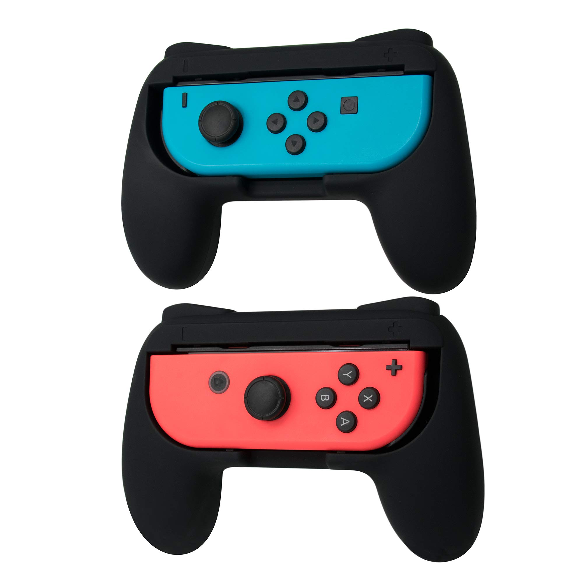 TOMSIN Grips for Nintendo Switch Joy-Con, Wear-Resistant Handle Kit for Switch Joy Con Controllers 2 Pack (Black)