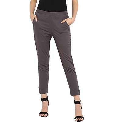 Janasya Women's Cotton Plain Narrow Pant at Women's Clothing store
