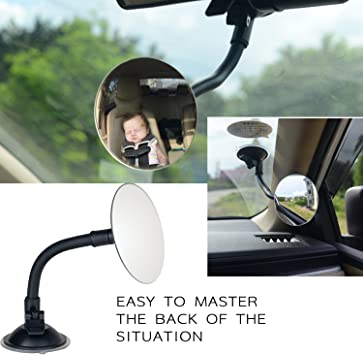 Car Convex Rear View Mirror-SUNWAN Auto Wide Angle Curved Interior Clip On Panoramic Rear View Mirror Anti-Glare for Universal Car Truck