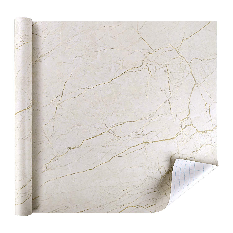 rabbitgoo® Papier Peint Auto-adhésif de Motif Marbre Granite Brun Sticker Autocollant Décoratif pour Meuble de Cuisine Salon Bureau Imperméable et Étanche à l'huile Vinyle Dimension 44.5 CM * 200 CM