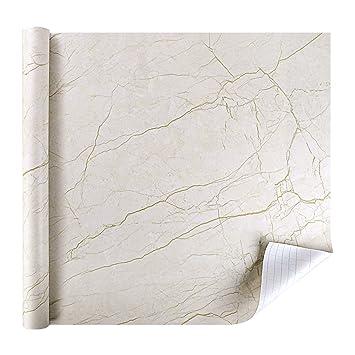 Rabbitgoo Papier Peint Auto Adhésif De Motif Marbre Granite Brun
