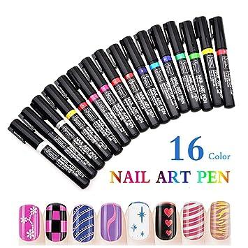 Amazon.com: Juego de 16 pinturas de uñas para pintar uñas ...