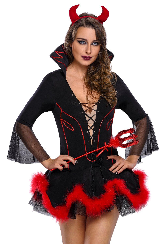 R-Dessous Damen Teufel Kostüm 3 teilig Teufelin Kleid Davil Horror Halloween Karneval Fasching Verkleidung Groesse: M