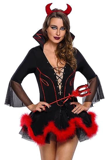 Spass42 Damen Teufel Kostüm 3 Teilig Teufelin Kleid Davil Horror