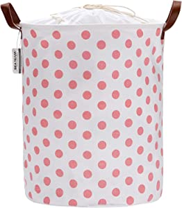Sea Team 19.7 Inches Large Sized Waterproof Coating Ramie Cotton Fabric Folding Laundry Hamper Bucket Cylindric Burlap Canvas Storage Basket with Stylish Pink Polka Dot Design