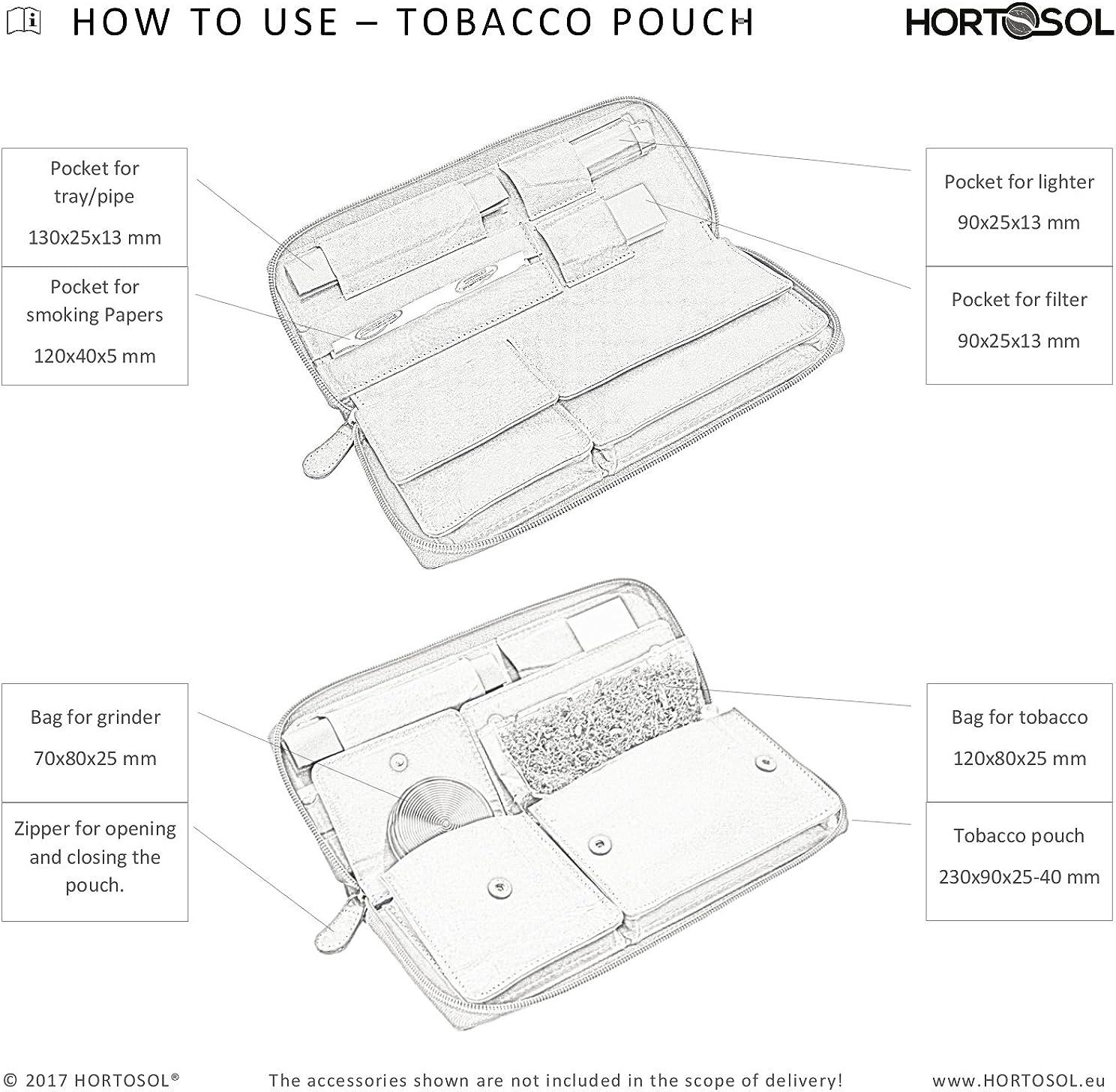HORTOSOL Blague /à Tabac en Cuir v/éritable Antique