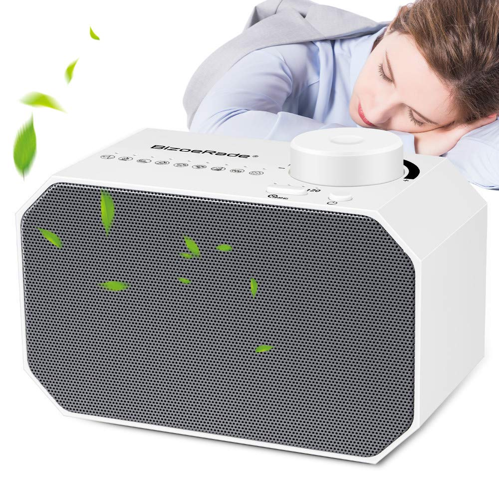 White Noise Machine, BizoeRade Sound Machine with Non-Looping Soothing Sounds and Sleep Timer Function Professional for Sleeping and Relaxation – Suitable for Baby Kids and Adults