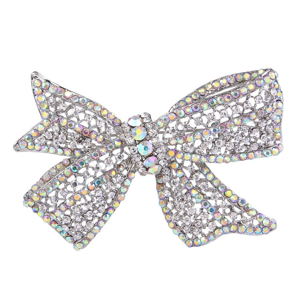 EVER FAITH Wedding Silver-Tone Bow Austrian Crystal Brooch Clear Ab
