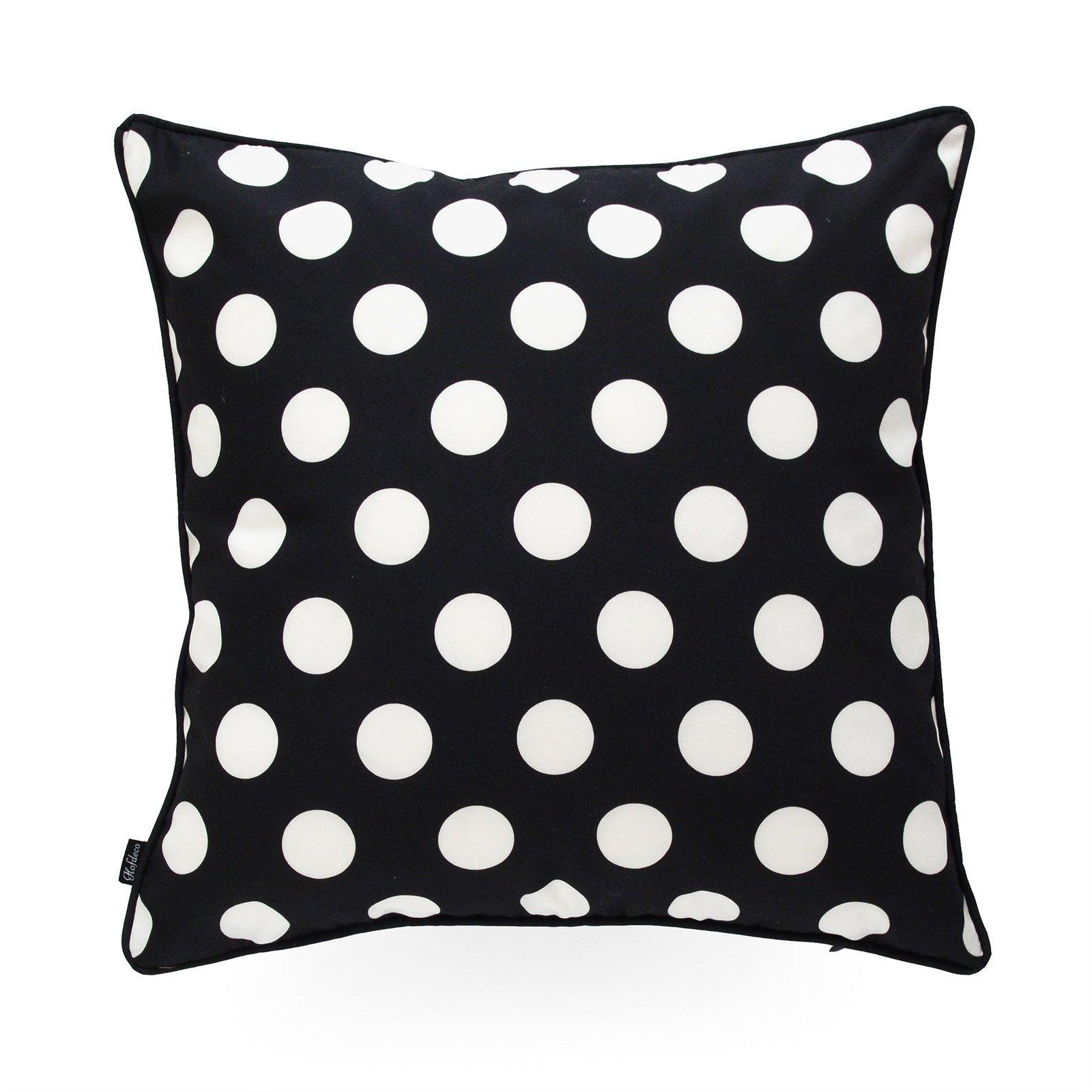 Hofdeco Decorative Throw Pillow Cover INDOOR OUTDOOR WATER RESISTANT Canvas Modern Black Dots 18''x18''