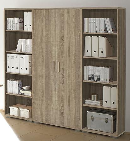 TecMaXX GmbH Estantería pared Office Line Juego de armario archivador de oficina Configuración/roble
