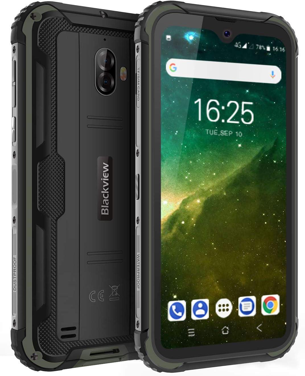 Blackview BV5900 Móvil Libre Resistente, 5,7 Pulgadas HD+ Display, Android 9.0, Batería 5580mAh, 3GB RAM+32GB ROM, Móvil Libre Antigolpes, IP68 Impermeable, Cámara 13MP+5MP, GPS/NFC - Verde