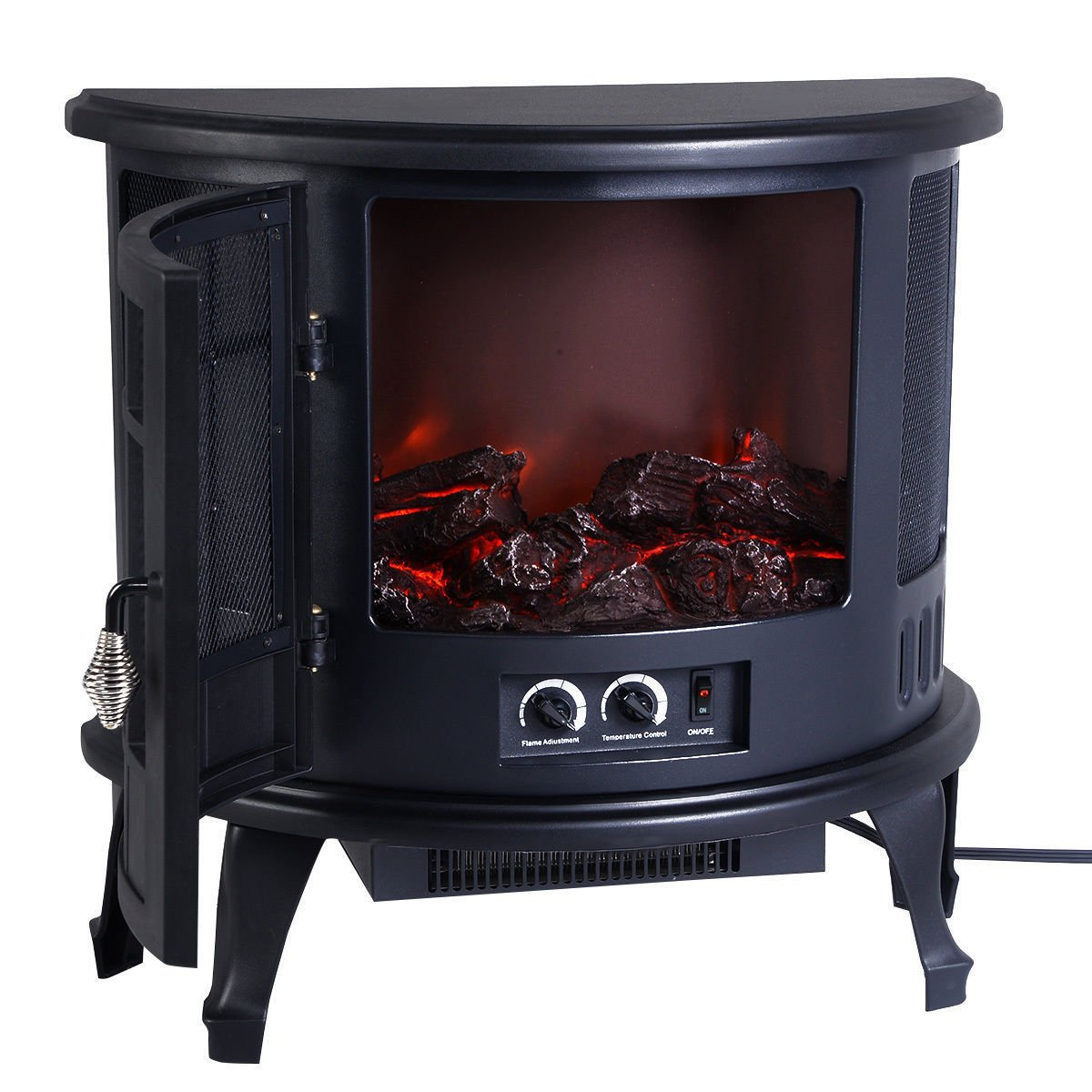 Wakrays Free Standing Electric 1500W Fireplace Heater Fire Flame Stove Wood Adjustable