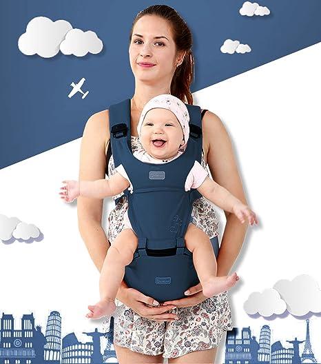 51d0ecf1a Portabebé Asiento de Cadera - Ergonómico Portador de Bebé Ajustable  Respirable Mochila Plegable Portátil Convertible Carrier