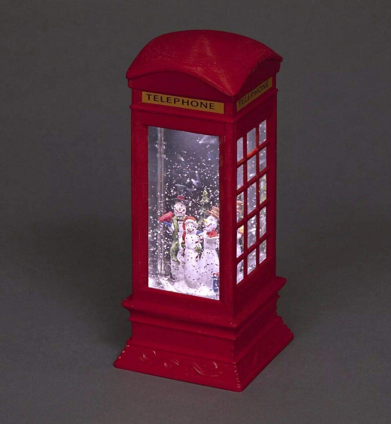 Snowman Design Mask /& Co Premier Christmas Glitter Water Spinner Telephone Box Decoration