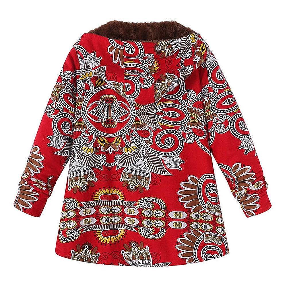 AOJIAN Women Jacket Long Sleeve Outwear Hooded Vintage Folk Custom Print Oversize Coat