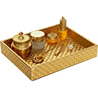 Valet Tray Catchall Tray Cosmetics Tray Vanity Tray Dresser Tray Nightstand or Dresser, 10.2 x 8.4 x 1.8 inches, Faux Leather (Gold)