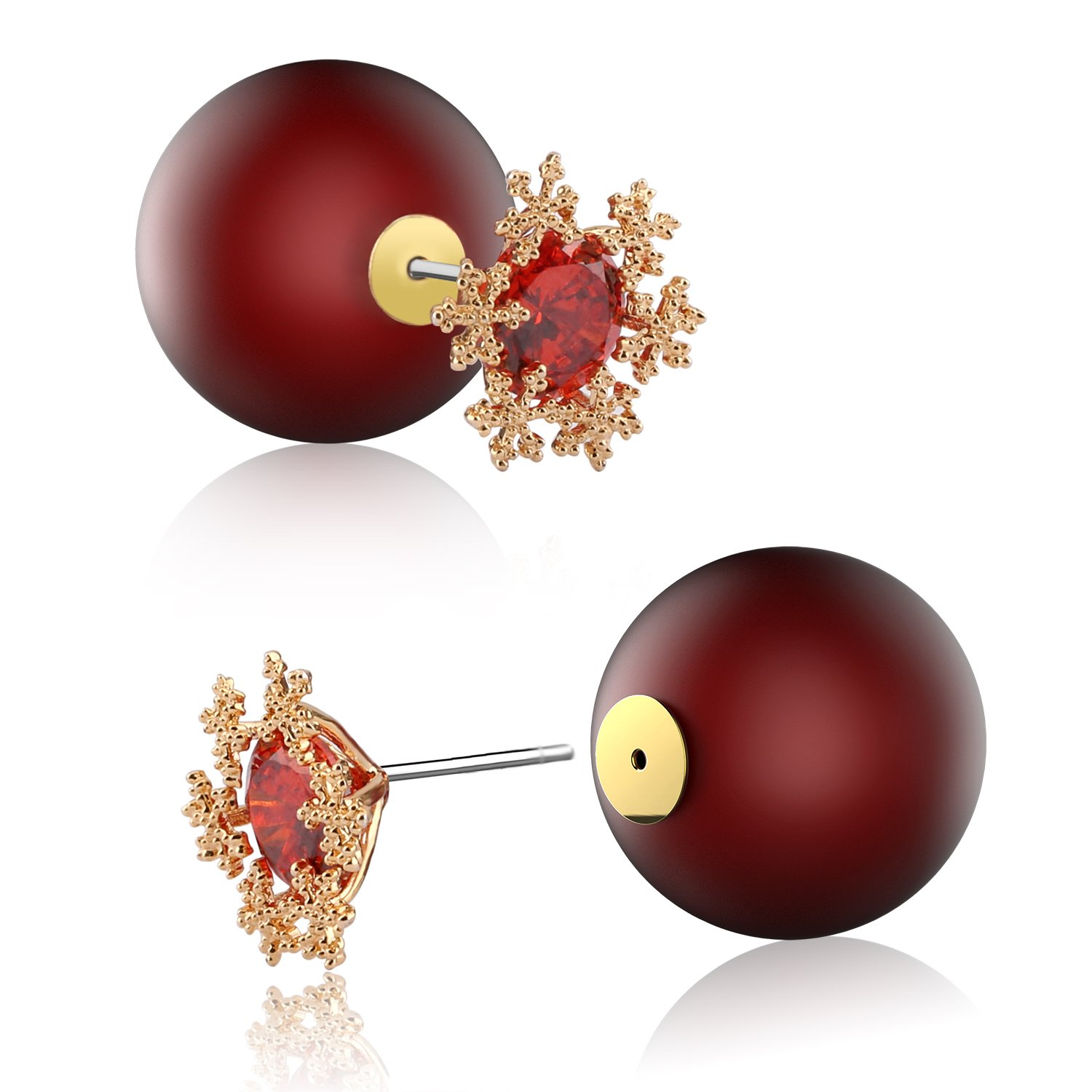 UHIBROS 316L Surgical Stainless Steel Stud Earrings Cubic Zirconia Red Ball Back Earring