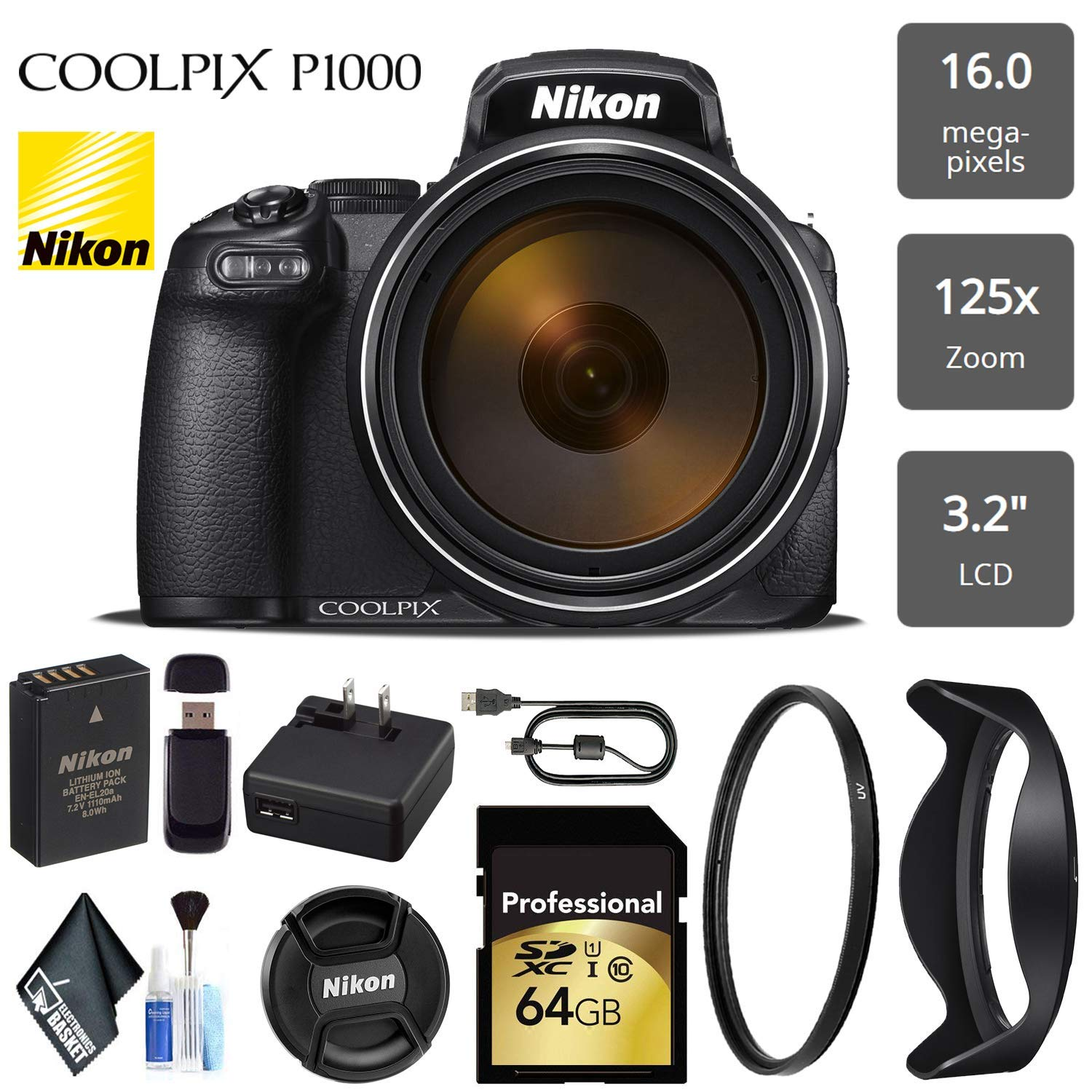 Nikon COOLPIX P1000 Digital Camera 16MP 125x Optical Zoom & Build in Wi-Fi + UV Protection Filter - International Version by Electronics Basket