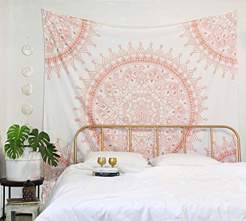 Madhu International Mandala Tapestries King Size Cotton Hippie Wall Hanging Tapestry Rose Gold, King 90x108Inches 230x275cms