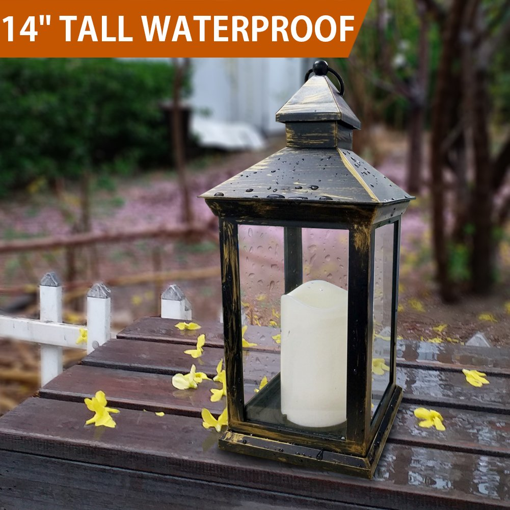 Bright Zeal BZY 14'' Tall Vintage Decorative Lantern with LED Pillar Candle (Bronze, Batteries Included) - Outdoor Lanterns Decorative Hanging - Battery Lantern Candle Holder - Vintage Candle Lantern